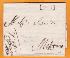1812 - Lettre Pliée Avec Correspondance De 2 Pages De ASCOLI Piceno, Marches Vers Martignano, Puglie - 1. ...-1850 Prephilately