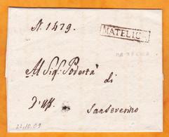1809 -  Enveloppe Pliée De Matelica Vers Sanseverino, Marches - 4 Scans - 1. ...-1850 Prephilately
