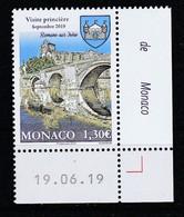 Monaco 2019 : LUXE !!! - N° 3210 - Romans-sur-Isère (ancien Fief Des Grimaldi)  - Neuf** - En Coin Daté - - Ungebraucht