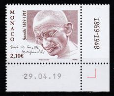 Monaco 2019 : LUXE !!! - N° 3212 - 150ème Anniversaire De La Naissance De Gandhi -  - Neuf** - En Coin Daté - - Ungebraucht