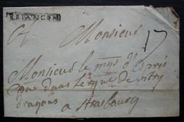 BRIANCON, Marque Encadrée De 33 Sur 5 Mm Sur Lettre Incomplète Sans Date Et Sans Correspondance Pour Strasbourg - Marcofilia (sobres)