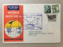 AUSTRALIA 1952 Qantas Illustrated Cover First Flight Australia - South Africa - Storia Postale