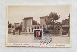 Cartolina Illustrata Tirrenia - Villa Rosa Maltoni Mussolini, Viaggiata Da Bolgheri Per Pomarance 1944 - Otras Ciudades
