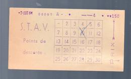 Carte D'abonnement (?) Transports S.T.A.V 1954 (PPP23991) - - Season Ticket