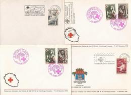 LA REUNION LOT DE 4 ENVELOPPES CROIX-ROUGE FRANCS CFA 1966 1968 1973 - Storia Postale
