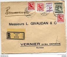 55 - 3- Enveloppe  Recommandée Envoyée De Vienne à Genève 1926 - Storia Postale