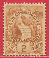 Guatémala N°45 2c Brun 1886-95 * - Guatemala