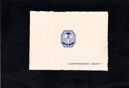 """Aviso Escorteur """" COMMANDANT BORY """" - Carte  En Double Feuillet -  Logo En Relief Sur Devant De La Carte - Schiffe"""