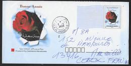 MAROC ENVELOPPE PAP ENTIER POSTAL 2011 POUR L'EUROPE BONNE ANNEE ROSE ROUGE - Marocco (1956-...)