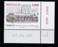 Monaco 2020 : LUXE !!! - ANCIENS FIEFS DES GRIMALDI - TORIGNI  - Neuf** - En Coin Daté - - Ungebraucht