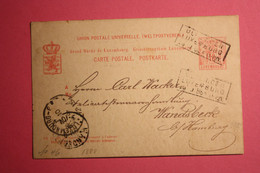 "NO 46. BAHNPOST/AMBULANT ""ULFLINGEN/LUXEMBURG"" GS NACH WANDSBECK BEI HAMBURG. - Postwaardestukken"