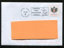 Chat Cat Exposition Féline 2020 Flamme Sur Lettre Postmark On Cover Monaco - Gatti