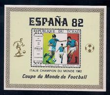 TCHAD 1982 - CAMPEONATO DEL MUNDO DE FUTBOL ESPAÑA-82 - NO DENTADA - IMPERFORATED - SURCHARGED CHAMPION - 1982 – Espagne