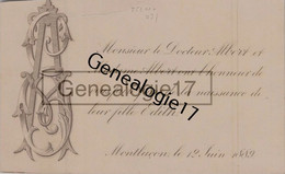 03 0818 MONTLUCON ALLIER 1889 Faite Part Naissance Docteur ALBERT Naissance D  EDITH ALBERT - Nacimiento & Bautizo