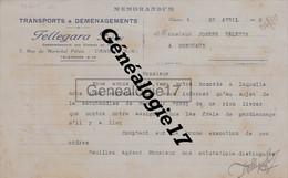06 0405 CANNES ALPES MARITIMES 1932 Transports  FELLEGARA FRERES Rue Marechal Petain à JOSEPH VALETTE De BORDEAUX - France