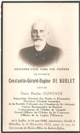 Doodsprentje Constantin-Gérard-Eugène De Burlet (x Nopener ) Bourgmestre De Baulers  ° Ixelles 1846 + Nivelles 1925 - Andachtsbilder