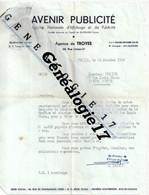 10 0071 TROYES AUBE 1956 AVENIR PUBLICITE Mr R. PERROT 68 Rue Urbain IV ---Publicite Dest DORMEUX A SAINTE SAVINE - 1950 - ...