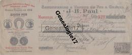 13 2219 MARSEILLE BOUCHES RHONE 1904 Savonnerie à Vapeur Du Fer à Cheval J.B PAUL Savon à DEGENNEStampon BROUDIN - Bills Of Exchange