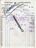 11 0884 NARBONNE AUDE 1940 GARAGE DU LANGUEDOC Mr A.C FOURNIER Marque SIMCA 48 Bd Mistral - Pneu Essence Huile à BLACHER - Cars