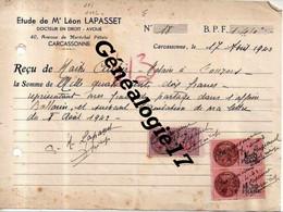 11 1336 CARCASSONNE AUDE 1943 Docteur En Droit LEON LEPASSET 40 Ave Marechal Petain - Recu Mailtre CARTIER à LOUVIERS - France