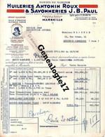 13 1103 MARSEILLE 1949 HUILERIES ANTONIN ROUX Et  SAVONNERIES J.B PAUL 9 Rue Ste Victoire Usine à SAINT LOUIS - 1900 – 1949