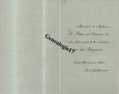 18 0287 SAINT FLORENT SUR CHER 1902 Faire Part Naissance P. BRUN Du Fils RAYMOND - Nacimiento & Bautizo