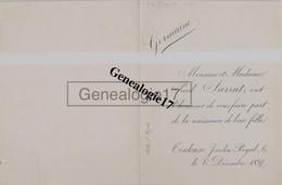 31 1052 TOULOUSE HAUTE GARONNE 1897 Faire Part Naissance PAUL SARRUT Au Jardin Royal De Leur Fille GERMAINE - Nacimiento & Bautizo