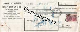 25 0769 A LA RIVIERE DOUBS 1938 Commerce D Escargots OMER RAMANZINI Escargot ( CONSERVERIE FABRIQUE ) - 1900 – 1949