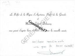 33 1660 BORDEAUX GIRONDE 19.. Lettre De Voeux Du Prefet De Region Et  Me GABRIEL DELAUNAY  En 1970 - Anuncios