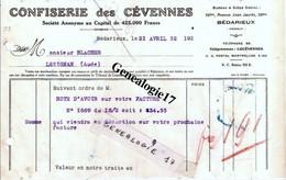 34 0282 BEDARIEUX HERAULT 1932 CONFISERIE DES CEVENNES 56bis Ave J. Jaures à BLACHER - Alimentaire