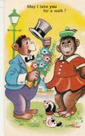 "Unused Harvey Barton Romantic/comic Trow Card  Chimps ""may I Take You For A Walk/"" - Fumetti"
