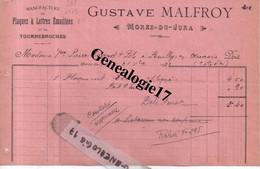 39 0243 MOREZ DU JURA 1921 Plaques Et  Lettres Emaillees GUSTAVE MALFROY - Tournebroches Plaque Emaillee - Non Classés
