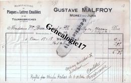 39 0244 MOREZ DU JURA 1921 Plaques Et  Lettres Emaillees GUSTAVE MALFROY - Tournebroches Plaque Emaillee - Non Classés