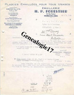 39 0344 MOREZ JURA 1935 Plaques Emaillees H.P FORESTIER Rue Pasteur  - EMAILLERIE - à Me DONAY D' AULNOYE 59 - Non Classés