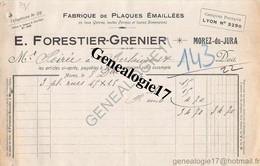39 0354 MOREZ DU JURA 1922 Fabrique De Plaques Emaillees EMAILLERIE H. P. FORESTIER  Et  GRENIER 18 Rue Pasteur - Non Classés
