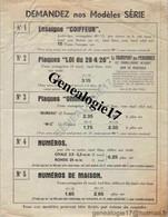 39 0359 MOREZ DU JURA 1951 -- TARIF --  Plaques Emaillees EMAILLERIE H. P. FORESTIER 18 Rue Pasteur - Zonder Classificatie