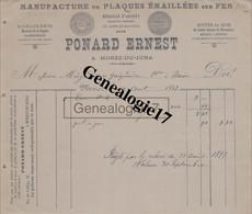 39 0527 MOREZ JURA 1897 Manufacture Plaques Emaillees PONARD ERNEST Horlogerie Montres Lunetterie  à MINJARD - Non Classés