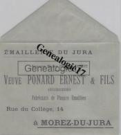 39 0685 MOREZ DU JURA 1908 Emaillerie Manufacture De Plaques Emmaillees Sur Fer VEUVE PONARD ERNEST Rue Du College - Non Classés