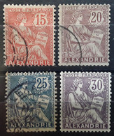 ALEXANDRIE, 1902, Type Mouchon,  4 Timbres Yvert No 25, 26, 27 ,OBL , 28 (*),  TB - Non Classificati