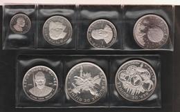 GUINEE LOT MONNAIES 7 COINS 100 FRANCS - 500 FRANCS ARGENT 999‰ SILVER 10ème Anniversaire De L'indépendance - Guinea