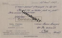 43 0451 DUNIERES HAUTE LOIRE 1927 Boulonnerie VIAL FRERES A MOURGUES - 1900 – 1949