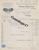 45 0655 ORLEANS LOIRET 1922 Manufacture Couvertures Draps PONROY - PESLE FILS Fbg Madeleine A POUDRAT - Vestiario & Tessile