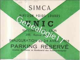 69 2563 LYON RHONE 19.. Divison Poids Lourds SIMCA UNIC 200 Ave Berthelot  - PARKING RESERVE  - Bd Tchecoslovaques - Visiting Cards