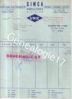 69 2532 LYON RHONE 1960 SIMCA INDUSTRIES DIVISION UNIC 200 Ave Berthelot Et  PUTEAUX SEINE 1 Quai National - Cars