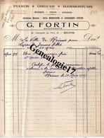51 0422 REIMS MARNE 1925 Piano Orgue Harmonium G. FORTIN Succ EMILE MENESSON Et  LAPLANCHE 21 Chaussee Du Port - 1900 – 1949