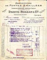 69 0294 LYON RHONE Manufacture De Fontes Emaillees DANTO - ROGEAT Cie 33/39 Chemin Culattes à PLANCHARD à PONT CHATEAU - Non Classés