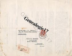 62 0589 CALAIS 1941 Recommande Biscuiterie BISCUITS VENDROUX Biscottes Pates Alimentaires à DENDRAEL Cultivateur FERME - Briefe U. Dokumente