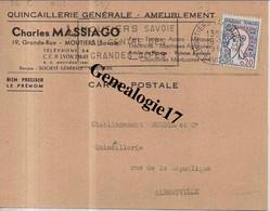 73 0516 MOUTIERS  SAVOIE 1961 Quincaillerie Ameublement CHARLES MASSIAGO FILS 19 Grande Rue - Moutiers