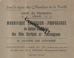72 0119 BEAUMONT LA CHARTRE Sarthe CHEVALIERS DE LA PUETTE 1948 Amis Du Vins M.F POSSON Vin Sarthois Et  Tourangeau - Europe