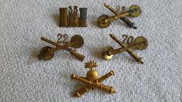 5 X Abzeichen Auflagen Kragenabzeichen Gekreuzte Kanonen U. Gewehr Militär - 1939-45